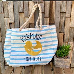Beach bag tote striped mermaid rope handles large